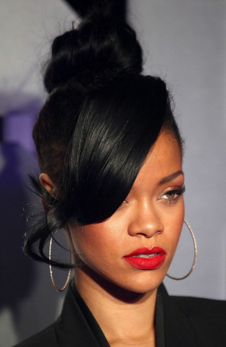 Rihanna top knot with side swept bang