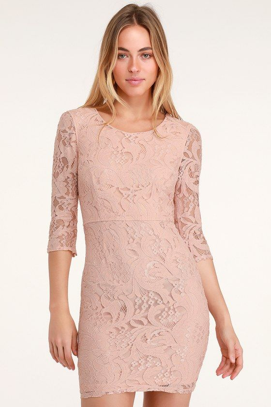 3f486b1628944 Lulus | All For You Blush Pink Lace Bodycon Dress | Size Large | 100 ...