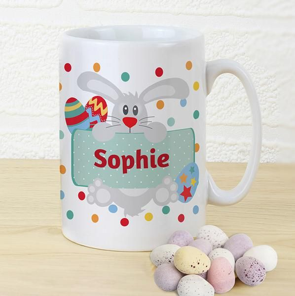 Personalised Easter Bunny Spotty Slim Mug - The Hut Market - Personalised Gift Shop