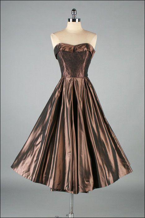 Vintage 1950s Dress  Metallic Copper  2968 by mill street vintage, $245.00