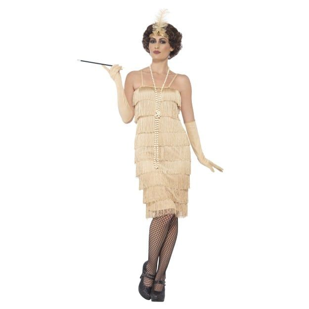 Gloves 1920s Gatsby Adult Fancy Dress Outfit Ladies Long Flapper Gold Costume