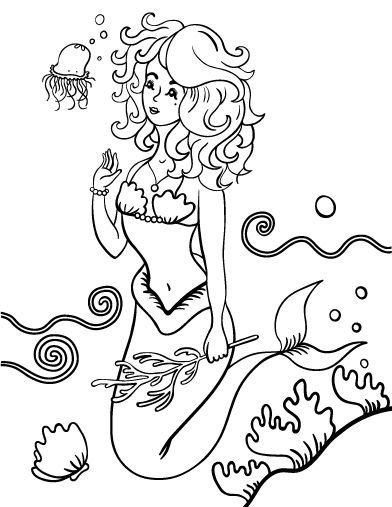 Printable Mermaid Coloring Page Free PDF Download At