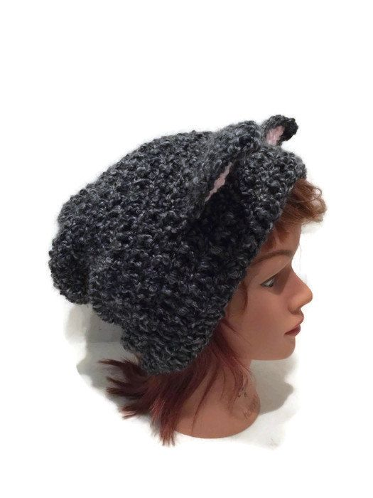 Black and Grey Cat Hat Slouchy Cat Beanie Black by AddSomeStitches