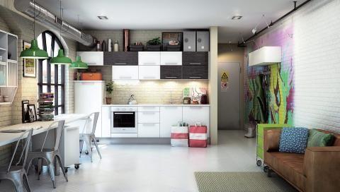 SJAKK MATT: Med dette flatpakkede kjøkkenet får du et kjøkken som ikke alle har. Modell Dekor glatt hvitt/Hacienda, kr 9575 for innredningen, og 1693 for benkeplate, HTH. FOTO: Produsenten