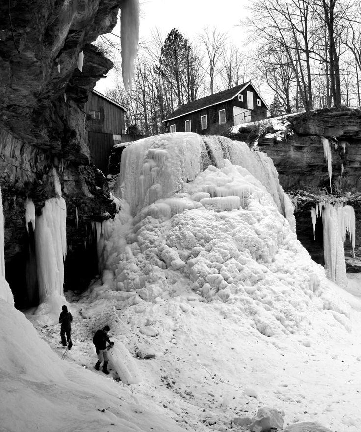 Frozen Upper Decew Falls, St. Catharines, Ontario, Canada.