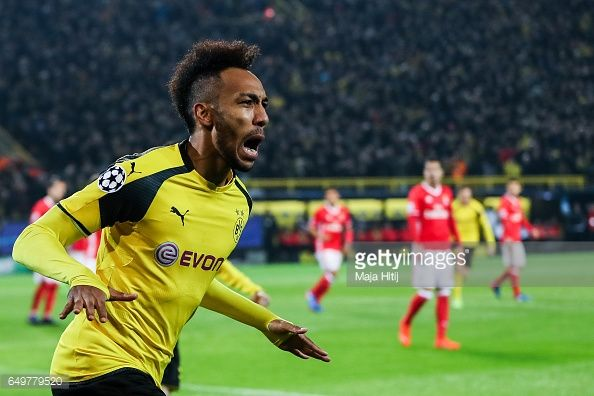 News Photo : Pierre-Emerick Aubameyang of Dortmund celebrates...