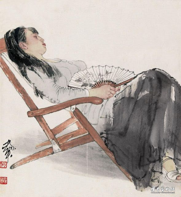 Painting by He Jiaying, Contemporary Chinese artist.