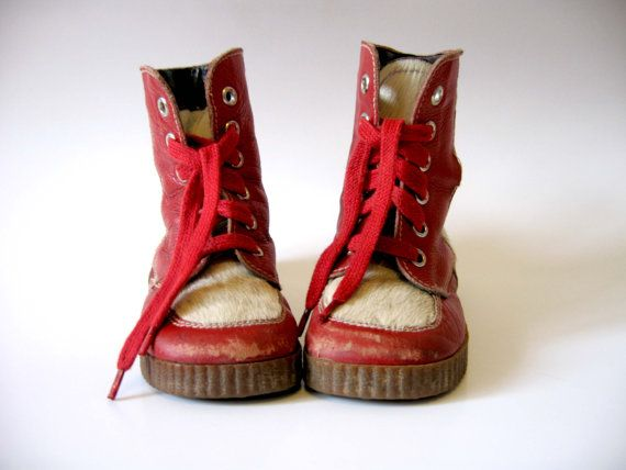 Vintage Baby Boots Seal Skin Leather Booties Red White Shoes Soviet Era Winter Accessories Kids Footwear USSR Soviet Union on Etsy, $28.00