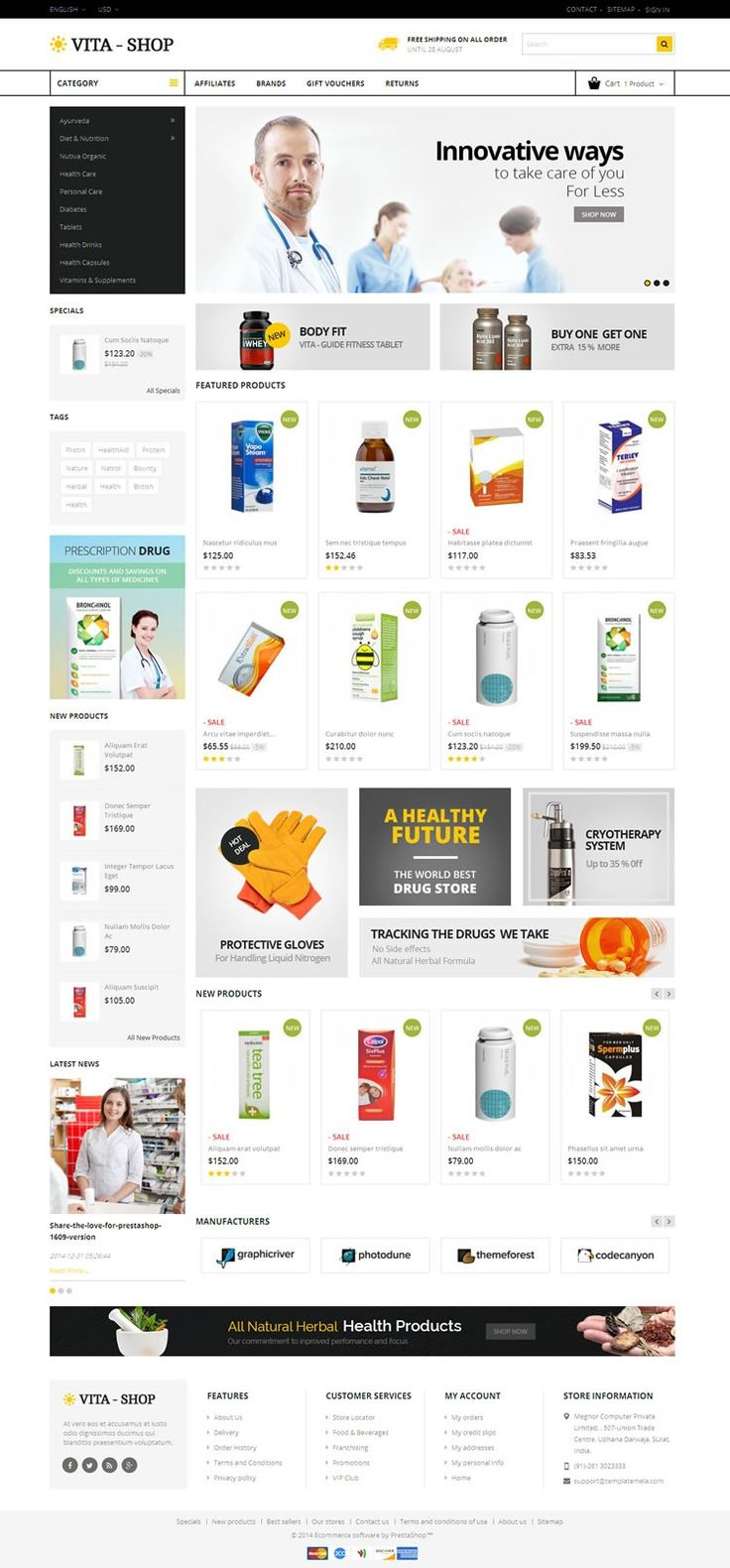 Vita Shop #Prestashop Responsive #Theme is designed for medicine, drug, mobile, electronics and multi purpose stores. Vita Shop Prestashop Responsive Theme is looking good with colors combination. All sub pages are customized. It is very nice with its clean and professional look. http://www.templatemela.com/vita-shop-prestashop-responsive-theme.html