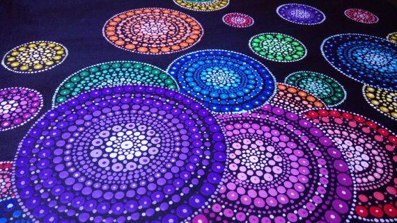Pintura de Mandala punto original hecho a mano por Anna Kep
