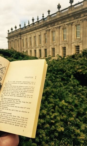 Reading Pride and Prejudice at Mr.Darcy's house. Chatsworth House, Derbyshire UK
