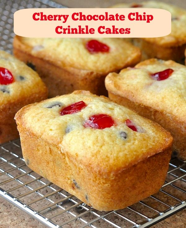 Cherry Chocolate Chip Crinkle Cakes - based upon a childhood favorite bakery treat, these tender and tasty little pound cakes are ideal for lunchboxes and after school snacks...if the adults don't get to them first! They can also be baked in muffin pans if you don't have mini loaf bakeware.