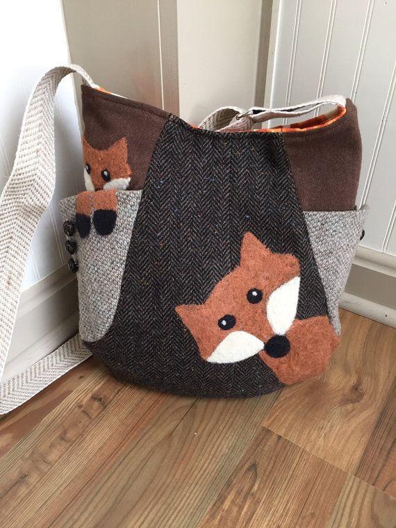 $85. Brown crossbody bag, 241 tote bag, upcycled wool bag, handfelted wool bag,handmade bag, fox bag (a cat would be cute.)