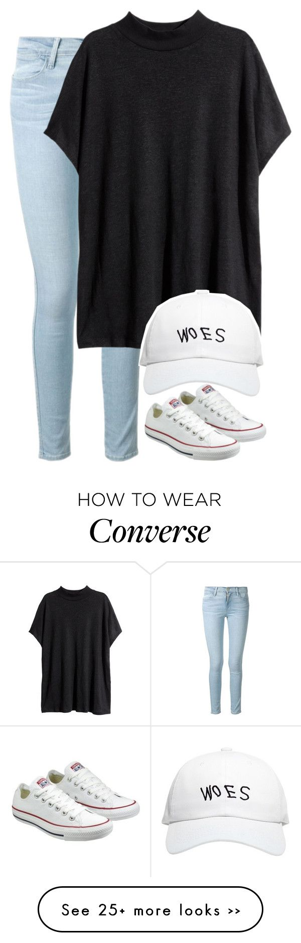 """""""Lovin' so hard"""" by fungirl1forlife on Polyvore featuring moda, Frame Denim, H&M, October's Very Own y Converse"""