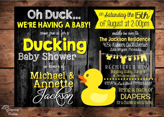 Ducking Baby Shower - Oh DUCK we're having a Baby! - Funny Rubber Duck Baby Shower Invitation - Oh Duck Baby Shower Theme - Digital on Etsy, $20.00
