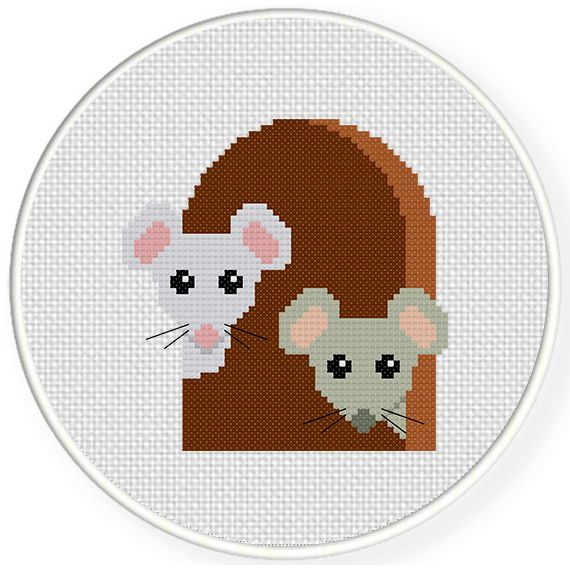 FREE Mouse In Hole Cross Stitch Pattern