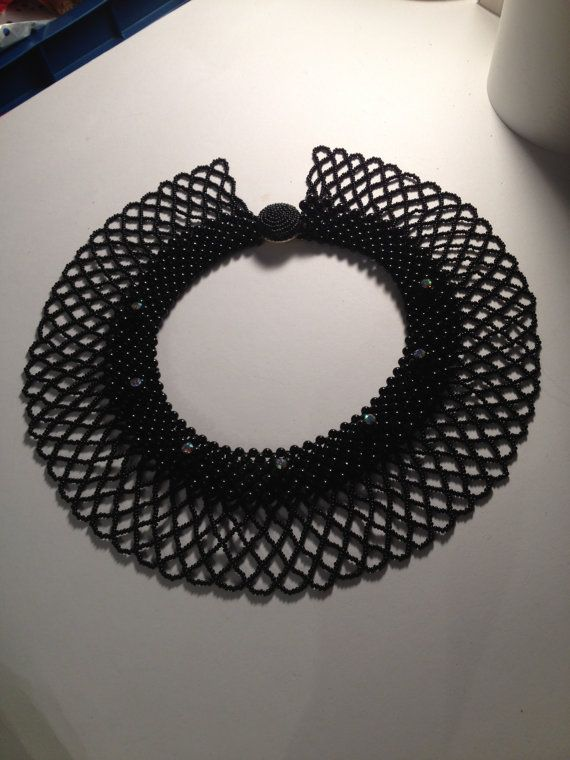 Gorgeous Vintage Black Beaded Collar
