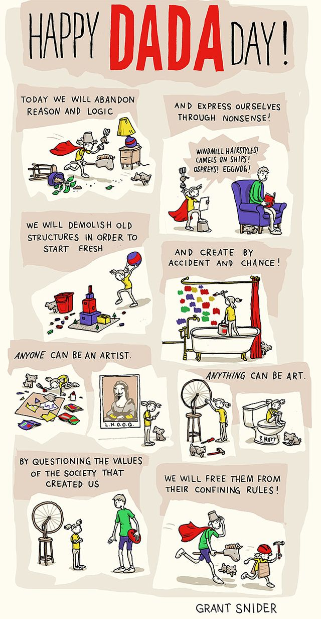 "Dada Day.  Grant Snider created this comic for his ongoing ""Who Needs Art?"" series.  Dada was an early 20th-century art movement that began as a reaction to the culture and traditions of the time, radically rebuking a society they felt was responsible for World War I. The Dadaists created with anger, humour, and immediacy. Common Dada mediums included collage, found objects, assemblages, and ridiculously terrible poetry."
