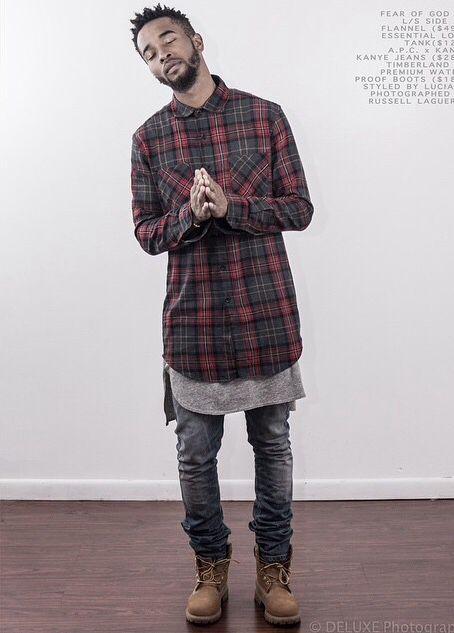 Stylish urban look for men - long checkered shirt bcaf0f7e4d0