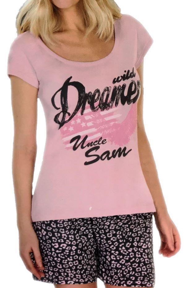 T-Shirt Shorty Set Schlafanzug Nachtwäsche Damen Pyjama Set Hose