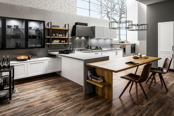 Nuova linea Officina: legno e matello brunito si impadroniscono della cucina, dai gamboni alle mensole, dalle vetrinette ai carrelli multifunzione