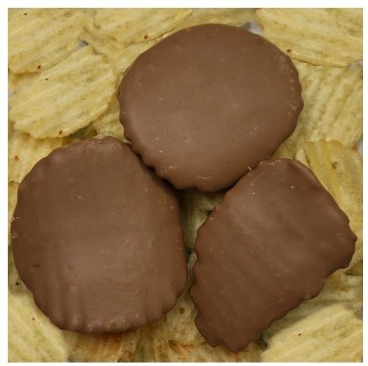 Milk Chocolate Covered Ruffled Potato Chips ~ Try these delicious, sweet and salty treats from Stefanelli's Candies in Erie, PA www.stefanelliscandies.com ~ Now available at Shisler's Cheese House in Orrville, Ohio