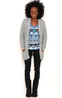 Long Sleeve Marled Knit Button Front Cardigan with Pockets