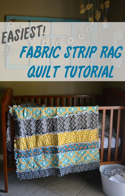 "Easiest Fabric Strip Rag Quilt Tutorial - great idea for 1/4 yard (9"", or less, maybe split into 5.5"" and 3.5"") WOF strips"