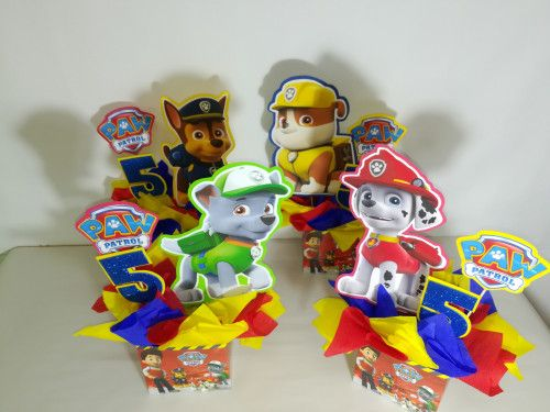4 Paw Patrol centerpieces, Paw Patrol party decoration, birthday