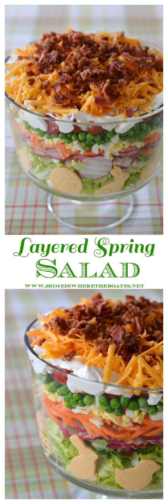 Layered Spring Salad! A make-ahead recipe and flavorful salad for your potluck, family gathering or barbecue! | homeiswheretheboatis.net #Easter