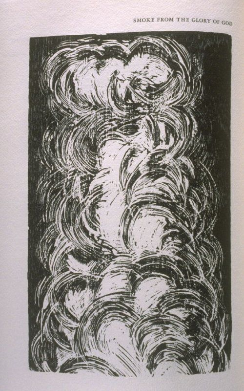 """""""Smoke from the Glory of God,"""" illustration in the book The Apocalypse/The Revelation of Saint John The Divine/The Last Book of the New Testament from the King James Version of the Bible, 1611, with Twenty-nine Prints from Woodblocks Cut by Jim Dine. (San"""