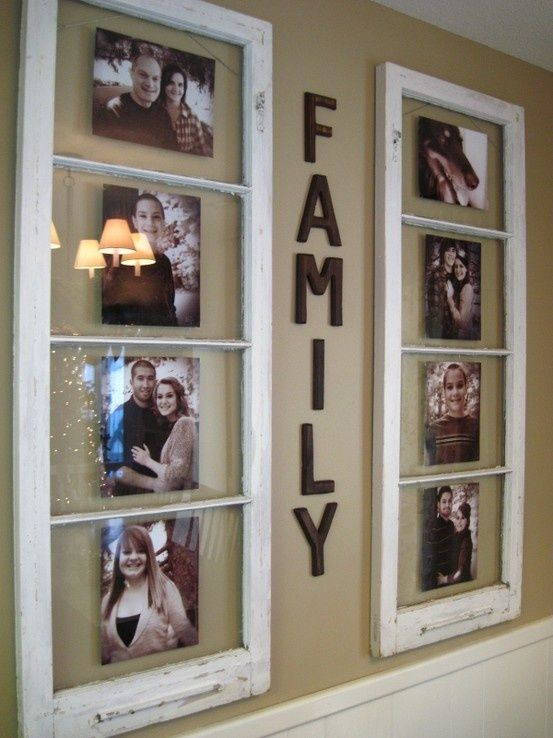 Wall Decor- family pictures  I have a whole stack of antique windows in my basement!  This would be a fabulous way to use them!
