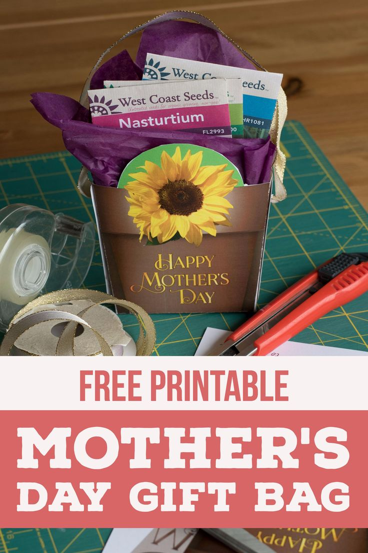 Our free, printable gift bag is the perfect size for seed packets or other small items. This Mother's Day kids craft is sure to wow! Give to the gardening mom in your life.