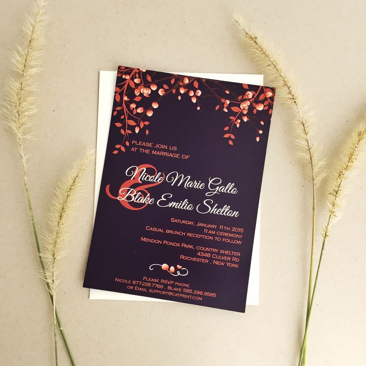 Purple, cream and orange fall wedding invitation with matching reply card on our website! | CatPrint Design #600