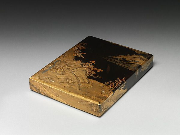 Box for Books with Waterfall | Lacquered wood with gold and silver takamaki-e, hiramaki-e, cut-out gold and silver foil application and silver inlay on black lacquer groundJapan | Muromachi period (1392–1573) | The Met