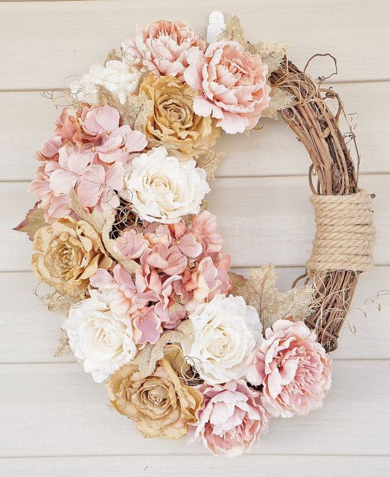 Door Wreath, Floral Wreath, Woodland Wreath, Oval Door Wreath, Floral Wreath, Woodland Wreath, Burlap Hydrangeas and Roses and Roping, Door Wreath, Home Décor, Door Wreath, Home Decor, Spring Home Décor, Silk Floral Wreaths, Gift Ideas, The beautiful composition of burlap hydrangeas and rose flowers in pink, tan and cream flowers and gold glittered burlap foliage in this Premium Floral wreath makes a wonderful gift for Spring through Fall or house warming! Made on a 18 oval grape vine base…