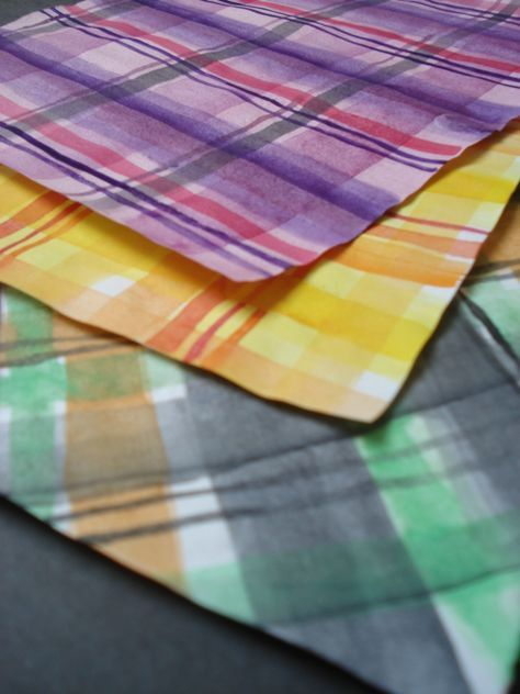 GREAT idea-from a faithful attempt blog: Pattern: how to paint Plaid papers for Collage