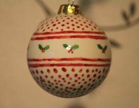 Hand painted Christmas bauble  http://emmaalviti.blogspot.co.uk/2012/12/baubles.html