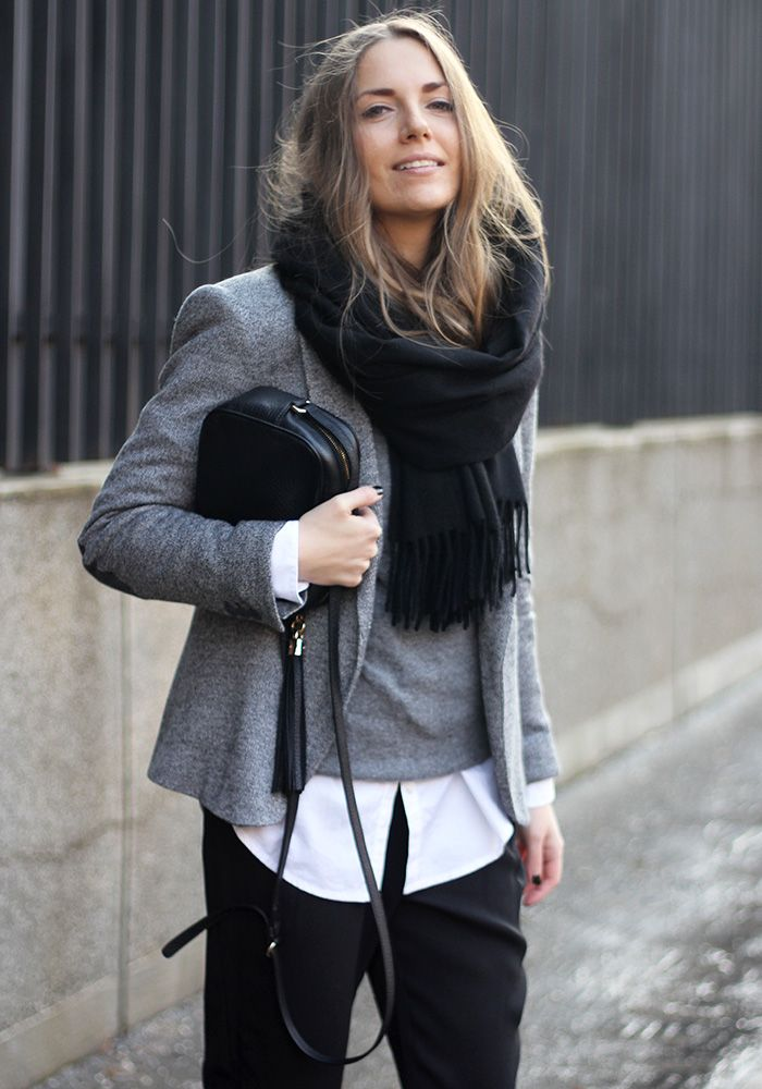 Winter outfit: black scarf, grey blazer, grey sweater, white shirt, black pants, black Gucci disco bag