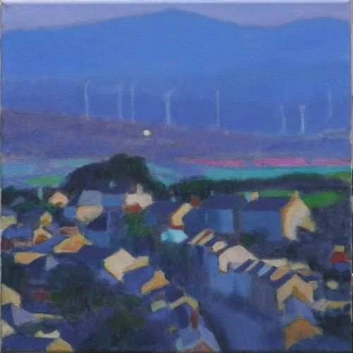 Upcountry from Redruth painting by Tom Henderson Smith approx 30 x 30 cm. Acrylic on stretched canvas