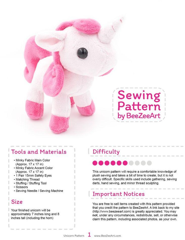 Unicorn Plush Sewing Pattern, Stuffed Animal Pattern, PDF File, Digital Download