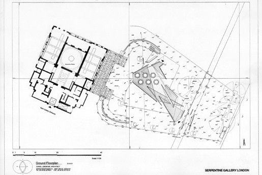 """Plan - Serpentine Gallery Pavilion 2001: """"Eighteen Turns"""" , Daniel Libeskind"""