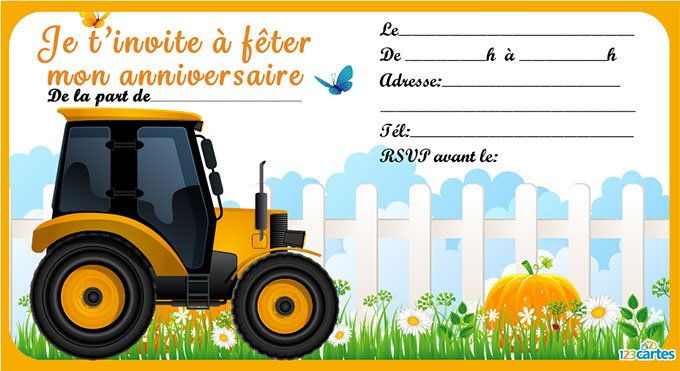 Invitation anniversaire tracteur gratuite à imprimer. Illustration d'un tracteur orange sur un champ avec des fleurs et des citrouilles. Carte disponible e