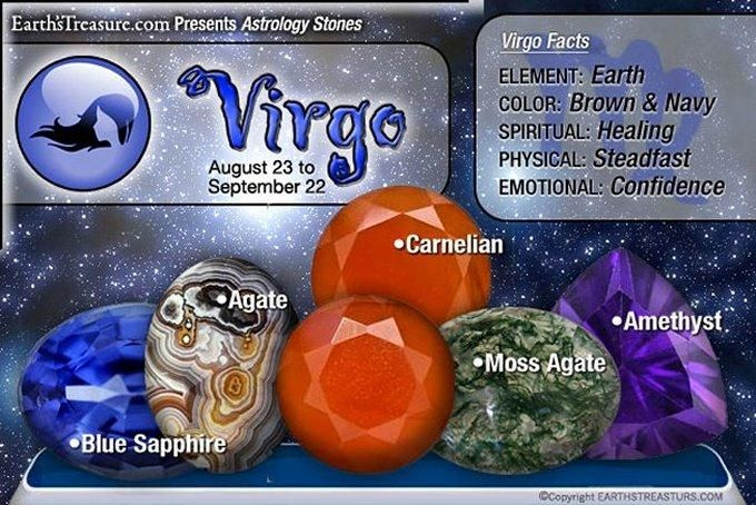 Virgo ~ Stones: Blue Sapphire, Agate, Carnelian, Moss Agate, Amethyst. Element: Earth, Color: Brown & Navy, Spiritual: Healing, Physical: Steadfast, Emotional: Confidence ♥♥