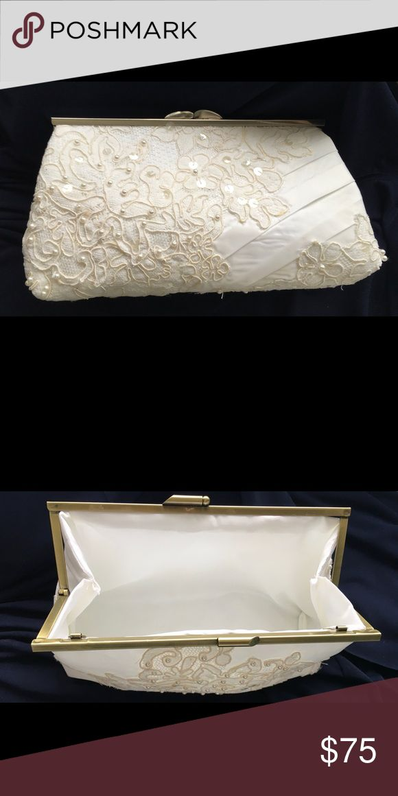 """Fancy clutch purse Made from a wedding gown, this purse adds an elegant touch to formalwear.  Could be a bride's purse or for mother of the bride or groom.  Measures about 5""""x8"""".  Satin, lace, sequins and beading. Handmade by me! Bags Clutches & Wristlets"""