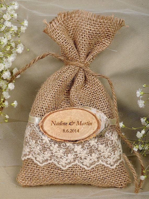Natural Rustic Burlap Wedding Favor Bag , Natural Birch Bark Wedding Favor, County Style Bag, Engraved Birch Bark Slice on Etsy, $3.50