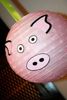 pink paper lanterns as pigs, other colors for different animals??