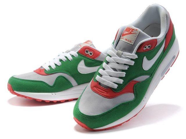 Mujer Nike Air Max 1 Premium zapatos de entrenamiento verde/gris/red rojos  OEvaD