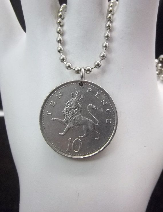 Lion Coin Necklace United Kingdom 10 Pence by AutumnWindsJewelry, $12.00