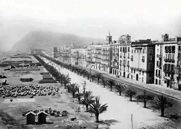 Moll de la Fusta, acabada de'enderrocar la muralla de mar. 186...Barcelona, Catalunya. Espanya.